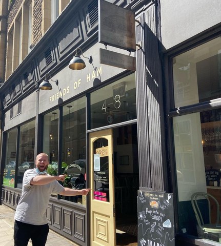 andy outside friends of ham leeds on opening day may 2021
