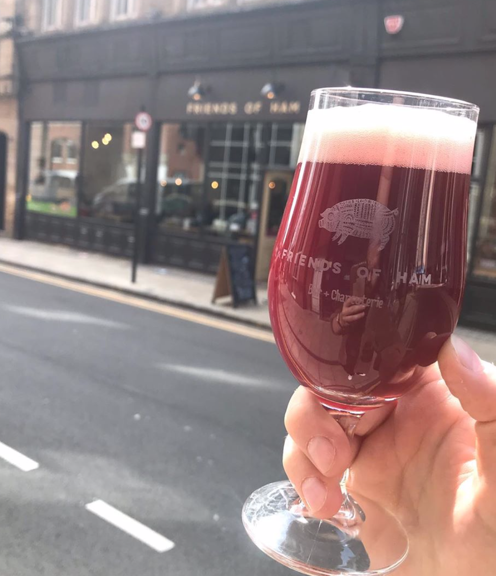 friends of ham branded two thirds glass