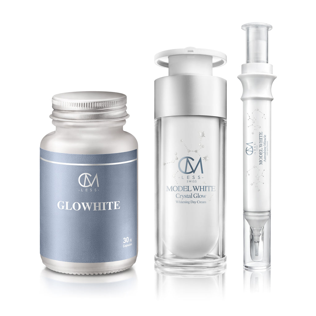 MODEL WHITE 清爽日霜 + 淨斑精華 + GLOWHITE 內外全包美白豪華套組 ULTRA WHITENING LUXURY SET (MODEL WHITE Day Cream + Anti-Spot Essence + GLOWHITE)