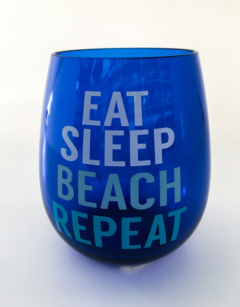 Eat Sleep Beach Wine Tumbler