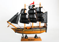 Small Pirate Ship with Navy & Gold Stripes