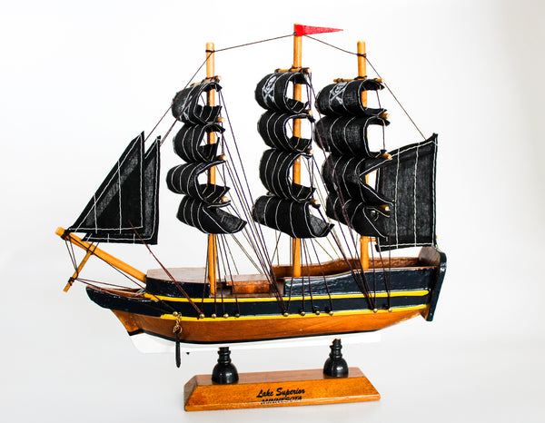 Medium Blue and Gold Model Pirate Ship