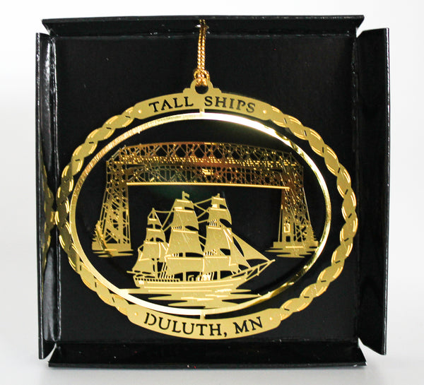 Tall Ship Brass Ornament