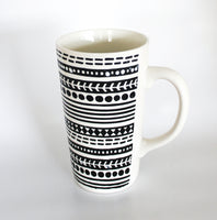 Tall Black and White Geometric Mug