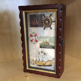 Key box with sail ship ring, anchor