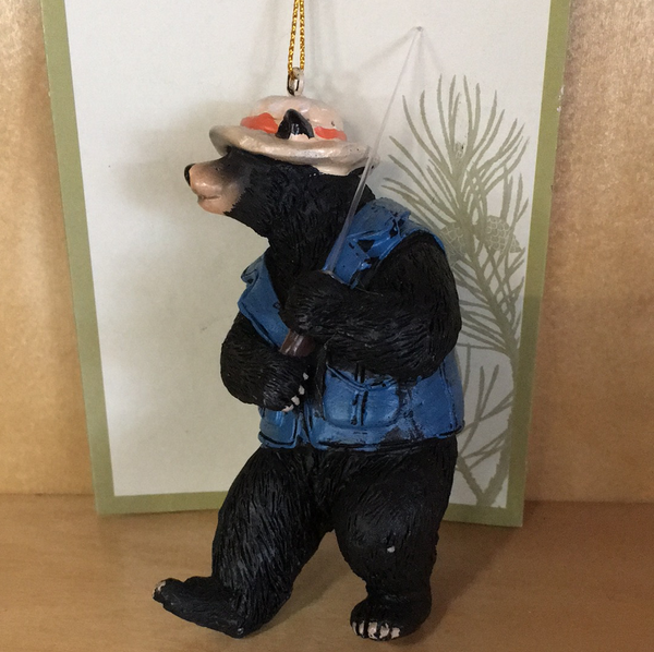 Fishing bear ornament