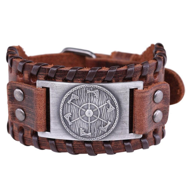 Bracelet de force Hache Viking en Cuir