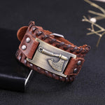 Bracelet cuir marron Viking