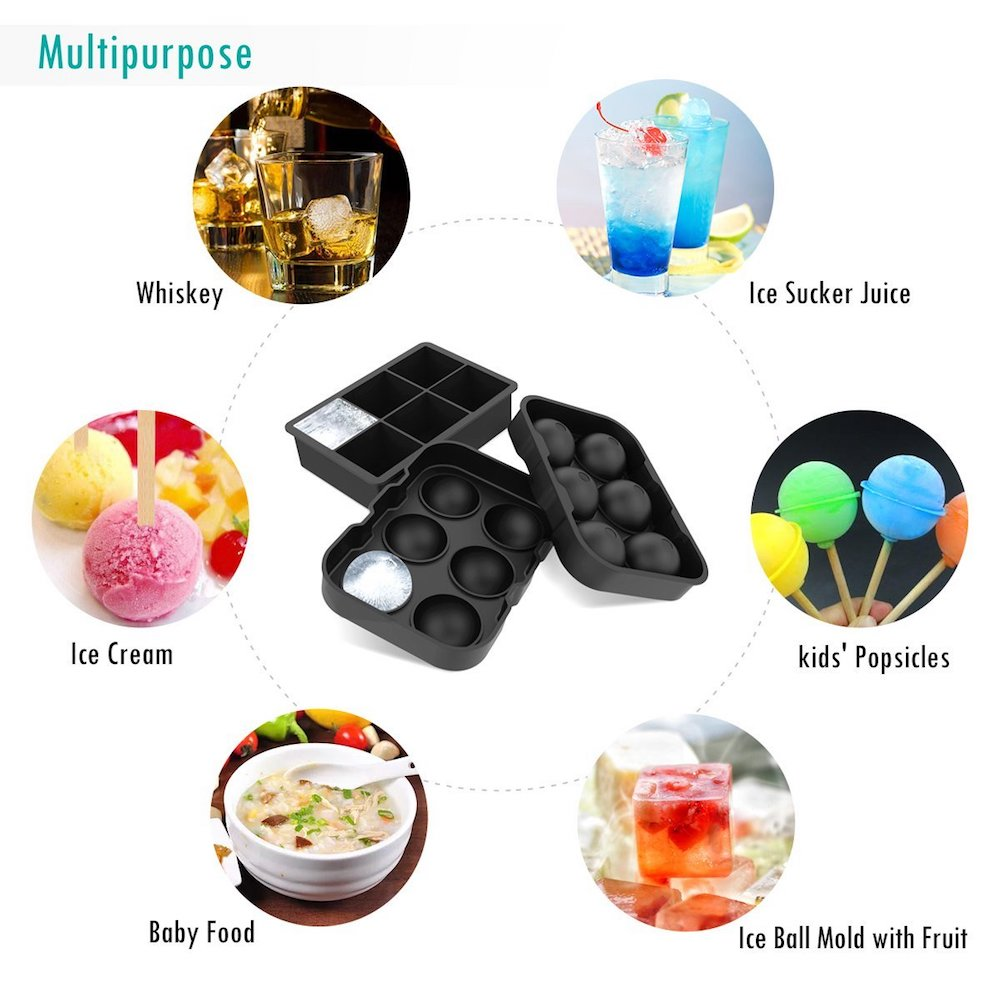 ALTA Cubes & Spheres Ice Tray - Black (Set of 2)