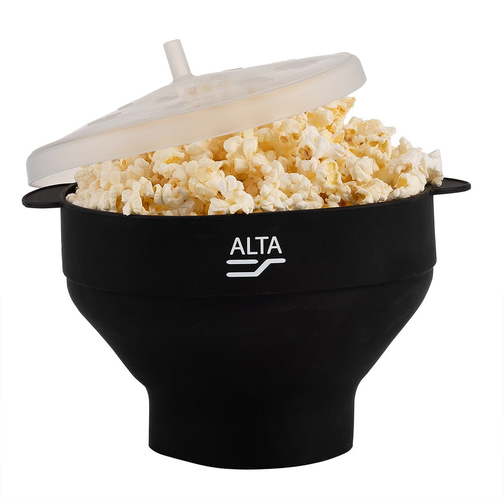 ALTA Silicone Popcorn Maker with Lid - Black