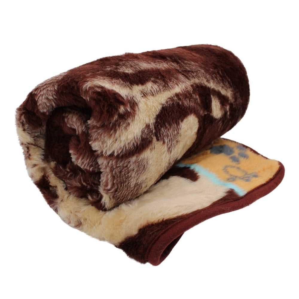 Aranda Super Soft Large Pet Blanket - Puppy Chocolate/Bone