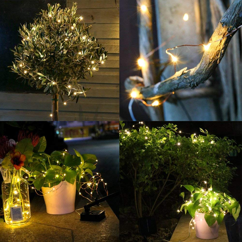Litehouse Solar Copper Fairy Lights - 10m Warm White 100LED