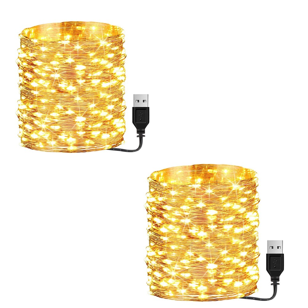 Litehouse 2 x 200LED Copper Warm White USB Fairy Lights 20m