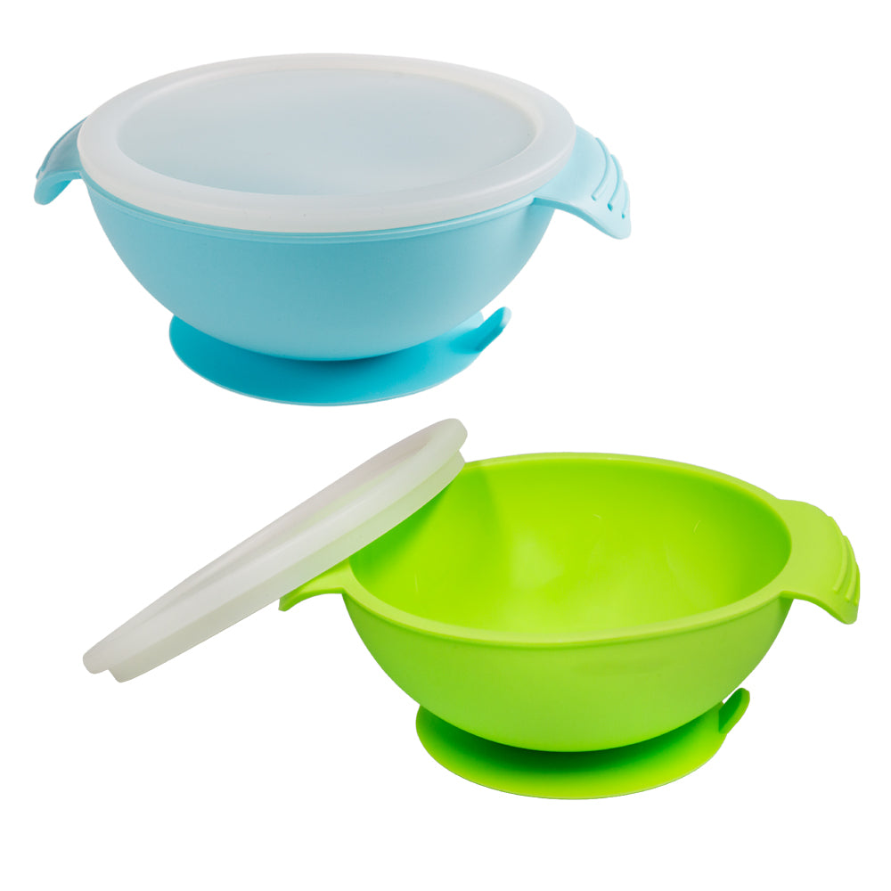 Napps Silicone Baby Suction Feeding Bowls - Green and Blue (2 Pack)