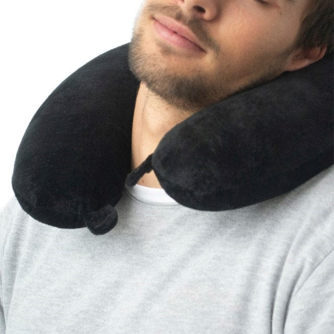 Wanderlust Plush Memory Foam Travel Neck Pillow - Set of 2 - Black & Grey
