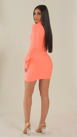 """In Your Dreams"" Peach Turtleneck Dress"