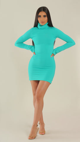 """In Your Dreams"" Teal Turtleneck Dress"