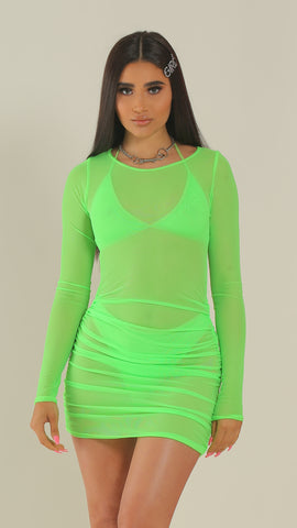 """BAECATION"" Green Mesh Rouched Dress"