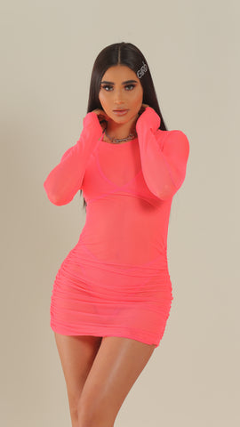 """BAECATION"" Pink Mesh Rouched Dress"