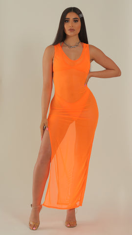 """BAECATION"" Orange Mesh Slit Dress"