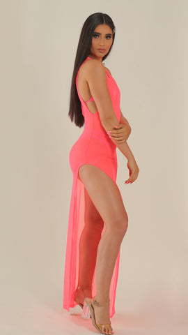 """BAECATION"" Pink Mesh Slit Dress"