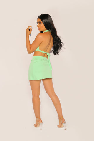 """BADGAL"" Mint Halter Set"
