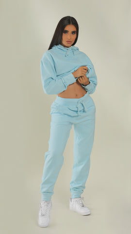 """BADGAL"" Baby Blue Joggers"