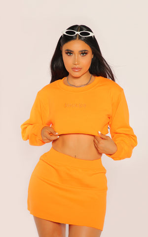 """BADGAL"" Orange Crewneck Set"