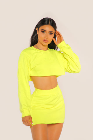 """BADGAL"" Neon Yellow Crewneck Set"