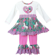 AnnLoren Girls Unicorns And Rainbows Dress Outfit (4257990606927)