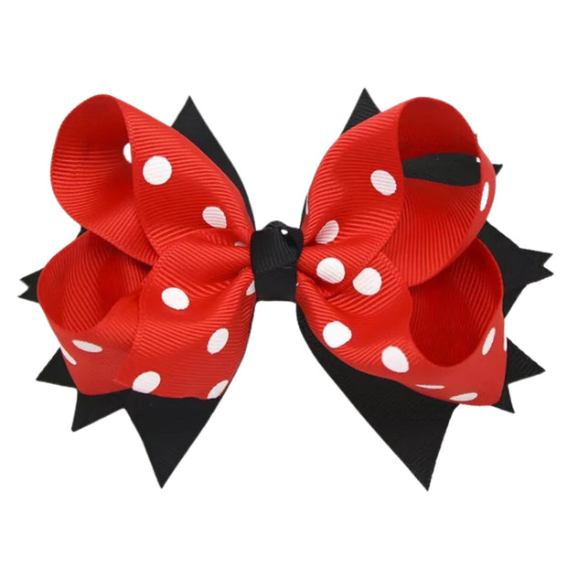 red and black polka bow