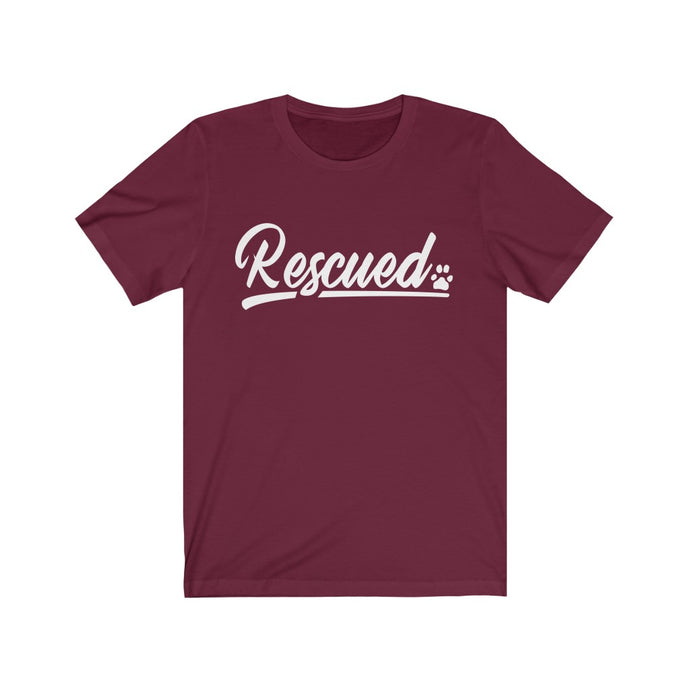 RESCUED (Paw) - Unisex Jersey Short Sleeve Tee