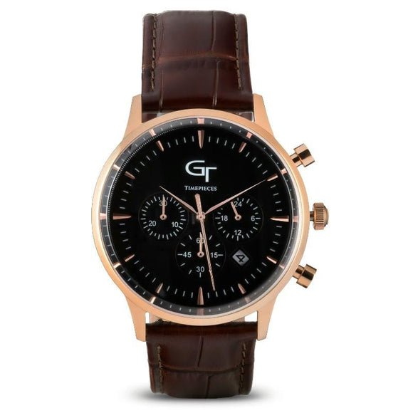 Men's Watch | Brown Leather Strap | Rose Gold Watch Case