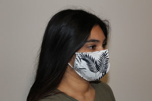 Leaf Print Face Masks - White - Noble Authority