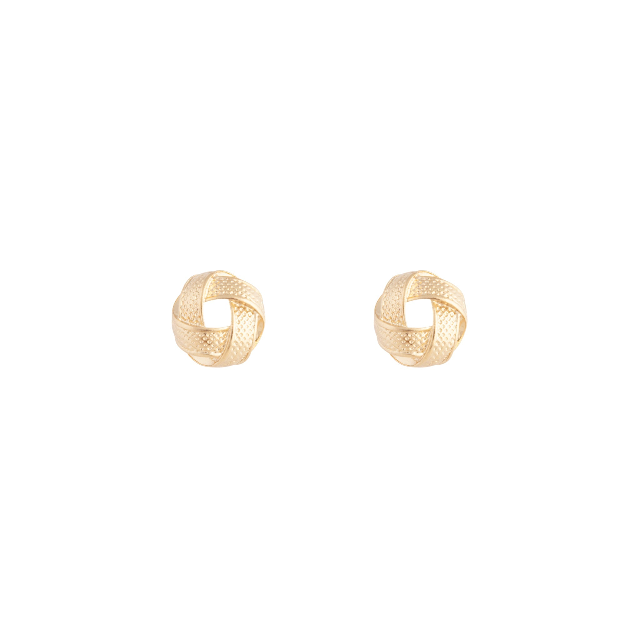 Gold Textured Knot Stud Earrings