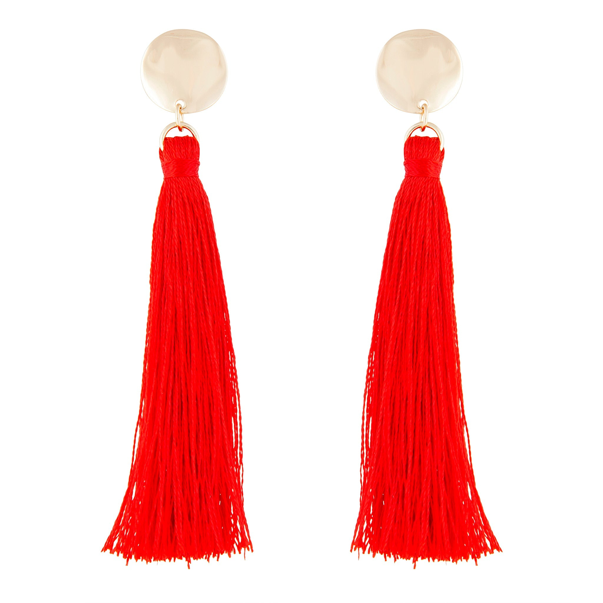 Red Gold Tassel Drop Disc Stud Earring