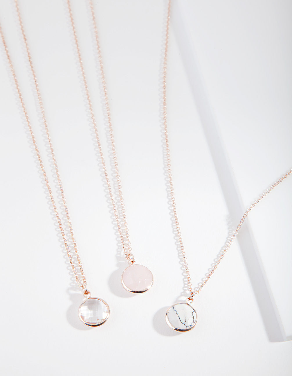 Rose Gold Semi Precious Round Necklace 3 Pack