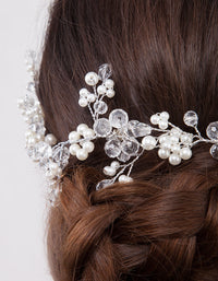 Silver Pearl Clear Bead Floral Hair Wrap - link has visual effect only