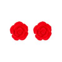 Red Textured Rose Stud Earrings - link has visual effect only