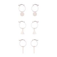 Silver Tassel Hoop Disc Hoop Earring Trio - link has visual effect only