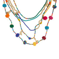 Rainbow Seed Bead Layered Long Necklace - link has visual effect only