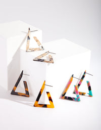 Acrylic Triangle Hoop Earring Trio Pack - link has visual effect only