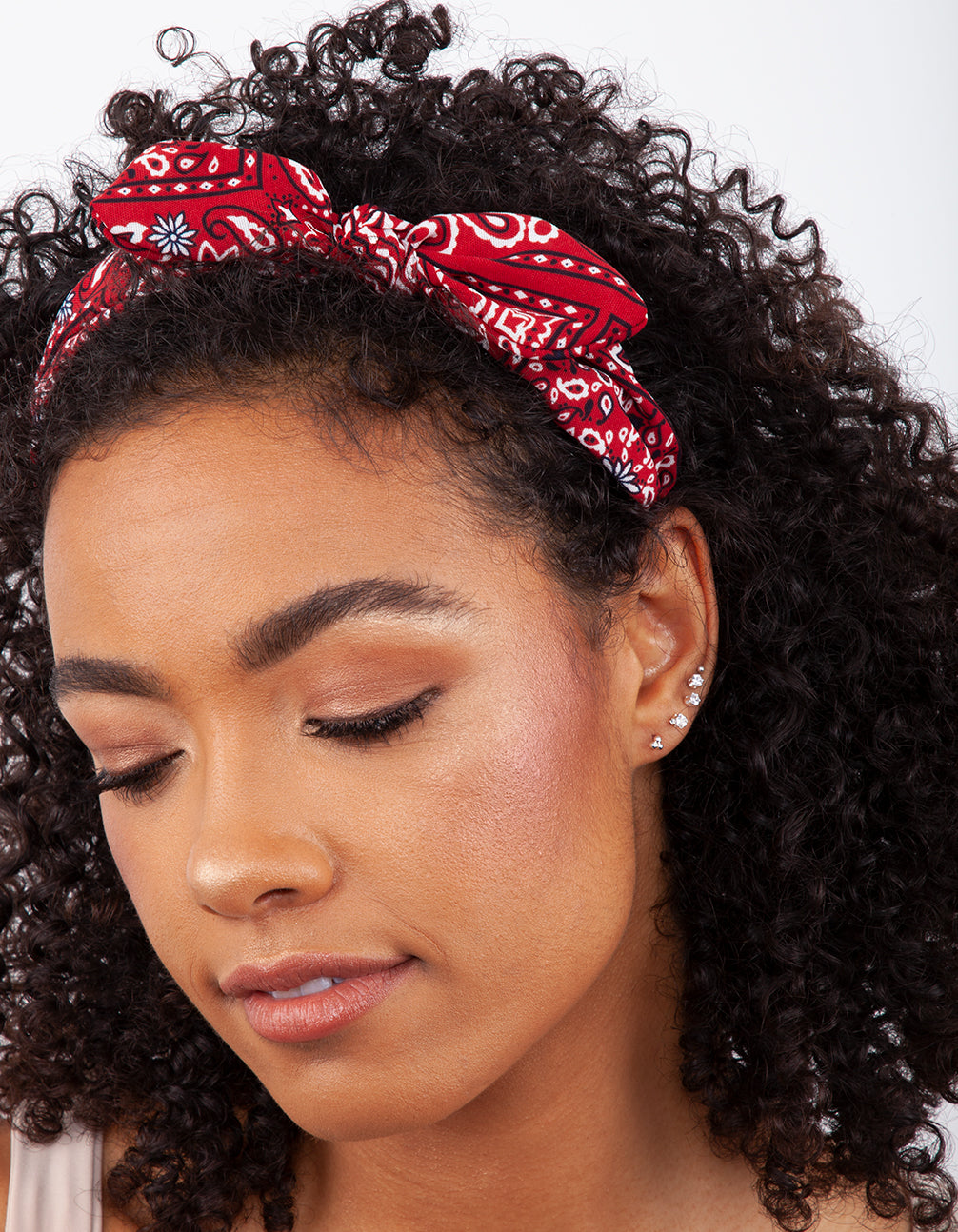 Red Bandana Knotted Headband