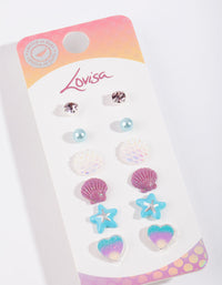 Kids Mermaid Stud Earring 6 Pack - link has visual effect only