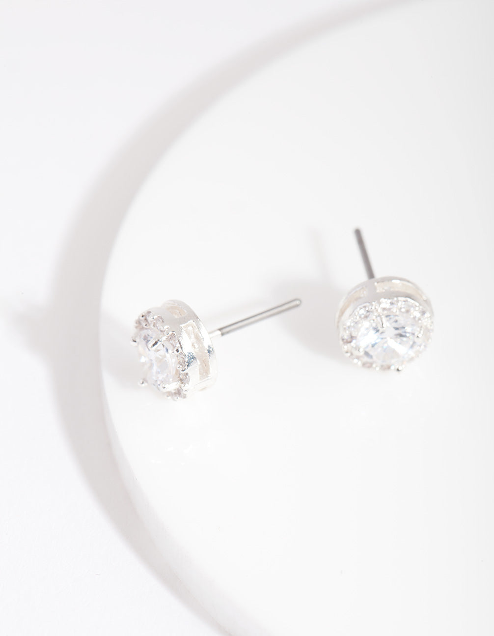 Silver Cubic Zirconia Round Pave Stud Earring