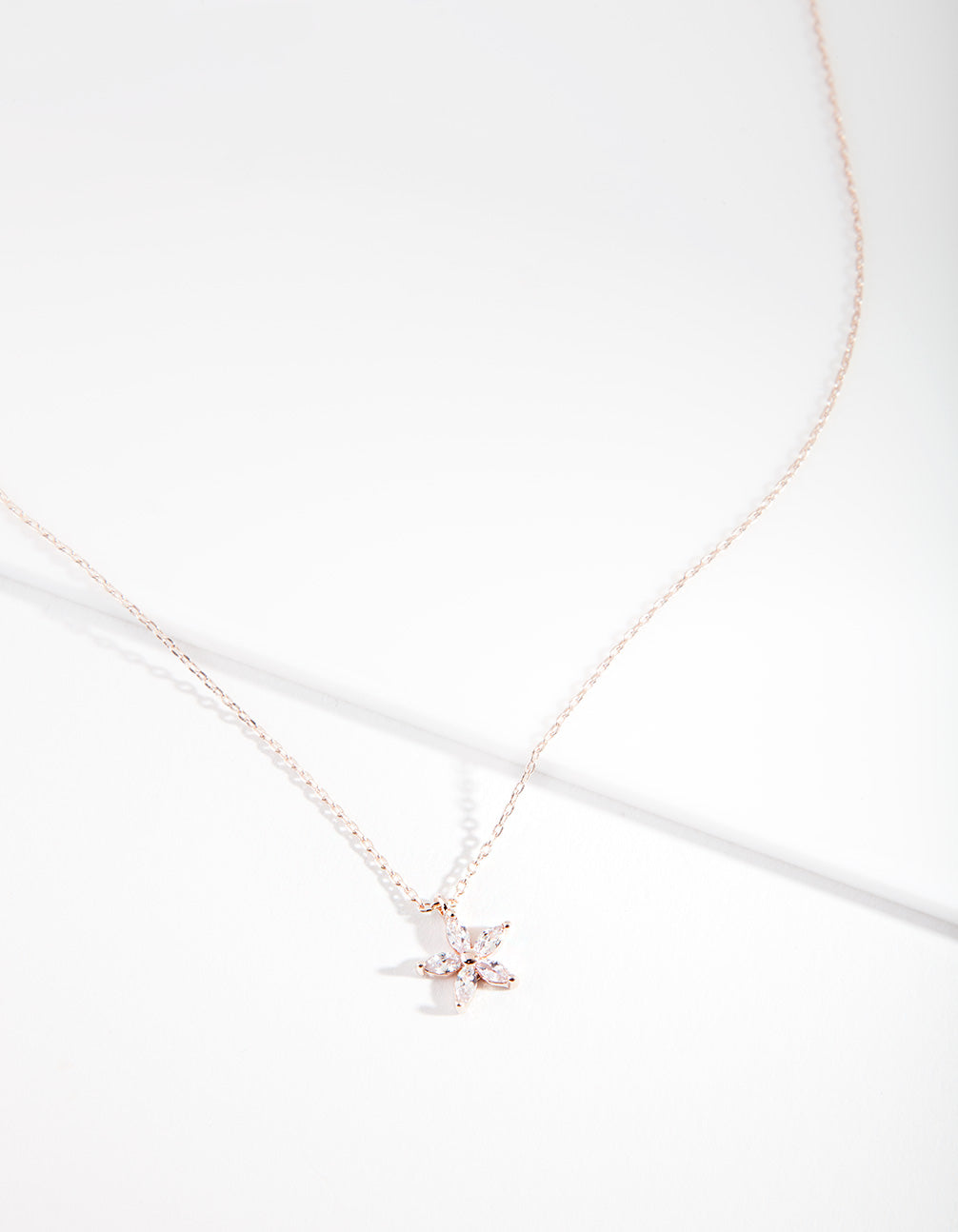 Rose Gold Cubic Zirconia Flower Necklace