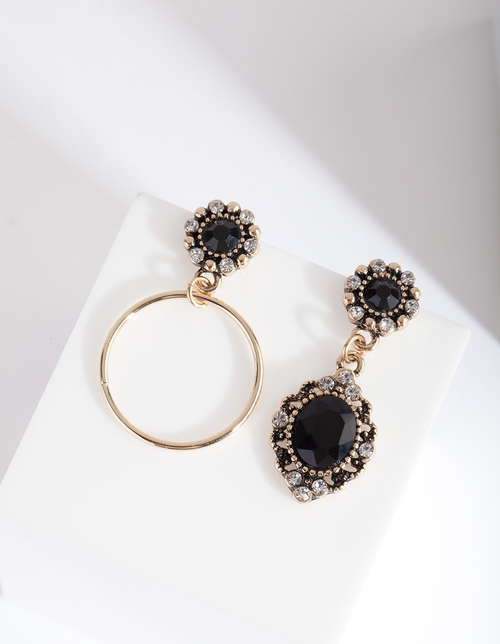 Gold Diamante Stone Drop Earring