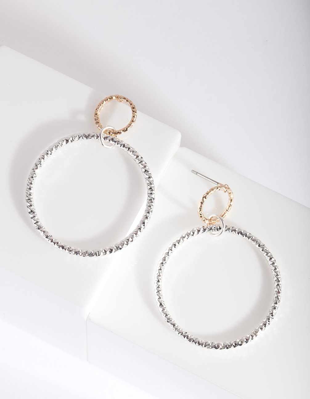 Mixed Metal Double Open Circle Earring