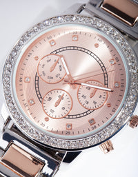 Mixed Metal Diamante Surround Watch - link has visual effect only