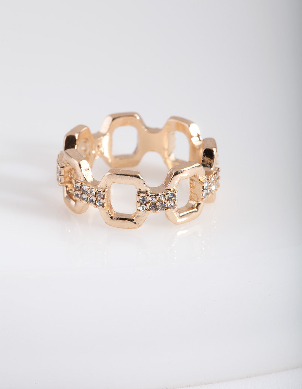 Gold Open Hexagon Chain Ring